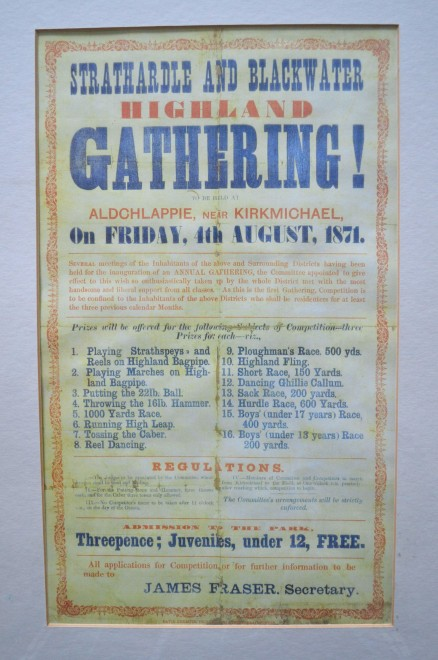 Strathardle Gathering poster from the very first Gathering in 1871.
