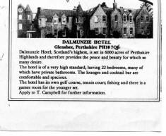 Dalmunzie Hotel Advertisement