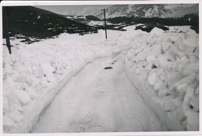 A road that has been cleared in Glenshee, 1940.