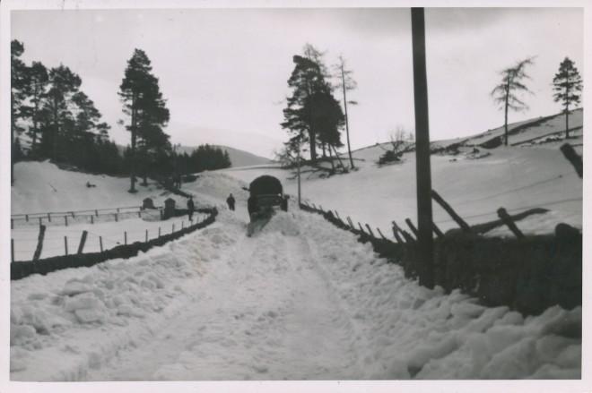 Clearing snow, Glenshee, 1940.