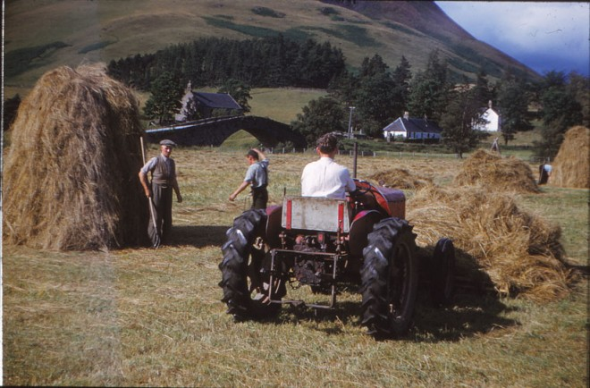 Jim Ramsay (holding fork) and Dennis Winton (on tractor).