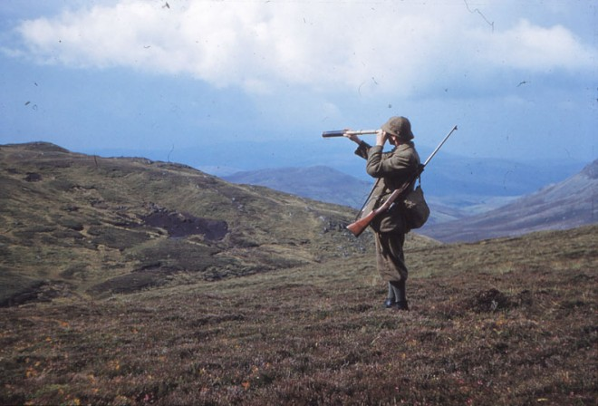 A man on a shoot surveys the landscape.