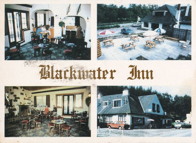 Illustrated front side of a postcard-sized advertisement for Blackwater Inn.