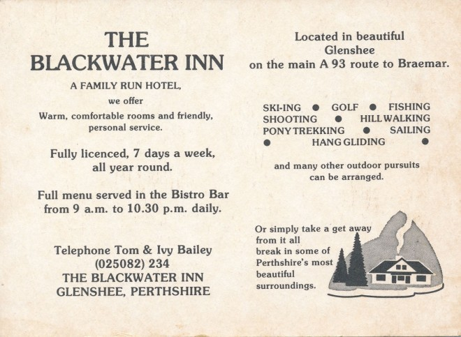 Reverse of a postcard-sized advertisement for the Inn.