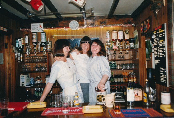 Snug Bar, Blackwater Inn. Ivy Bailey (right) and sisters, c.1990. | Ivy Bailey
