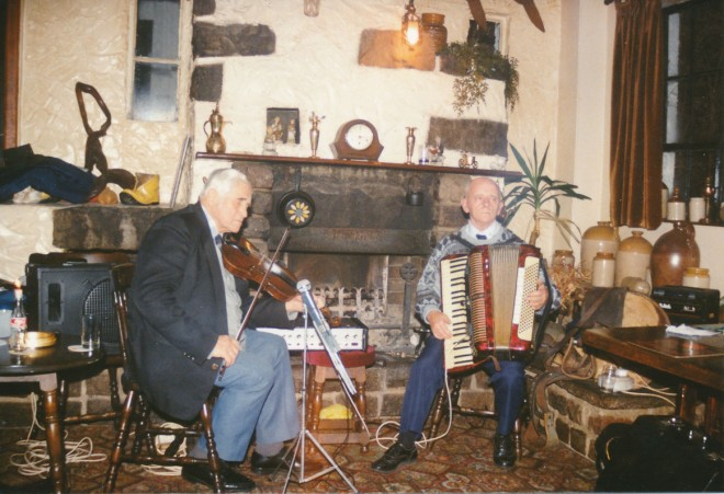 A night of traditional music. Jim Petrie (left, fiddle); Jim Fairweather (right, accordion)