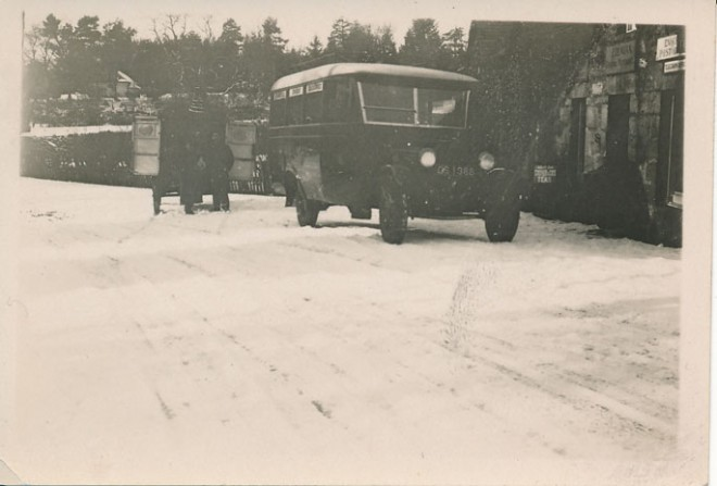 Enochdhu Post Office with Mail bus outside c1920.