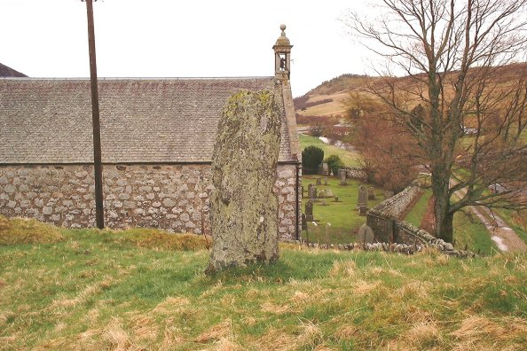 The standing stone at Glenshee church