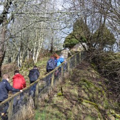 Climbing the steps to the memorial, located on a hill two-minutes' walk from Kirkmichael