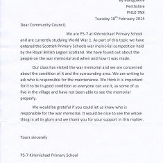 Letter to Community Council