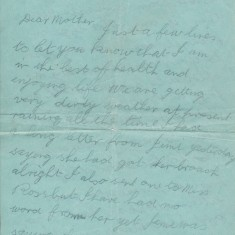 Letter from Peter Mitchell to his mother, sent from the HMS Defence (1/3)