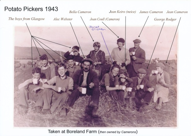 Potato lifting 1943 at Boreland Farm(also see school journals)