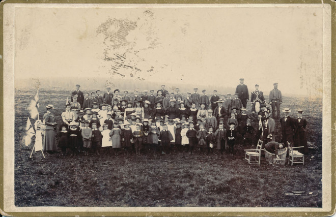 A group celebrate Queen Victoria's golden jubilee in 1887. Taken somewhere in Strathardle by James Stewart, local artist
