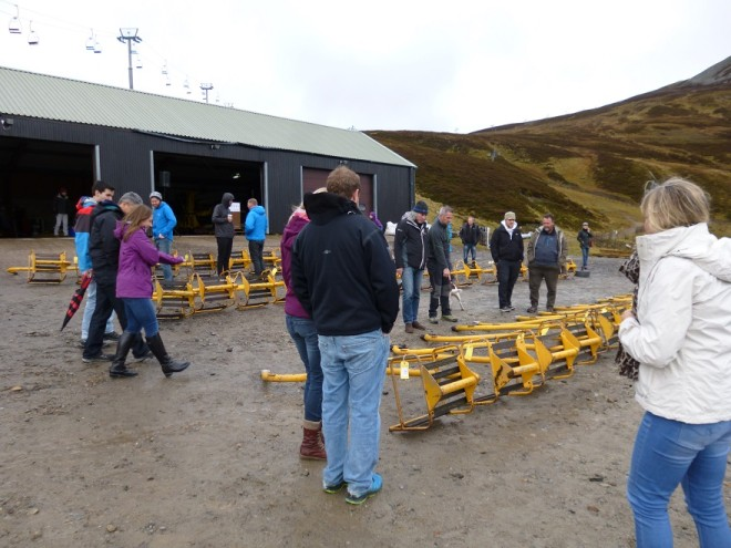 The sale of the old Cairnwell chairlift chairs. 2015.