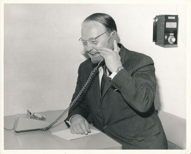 Lord Hall makes the first phone call from the exchange.