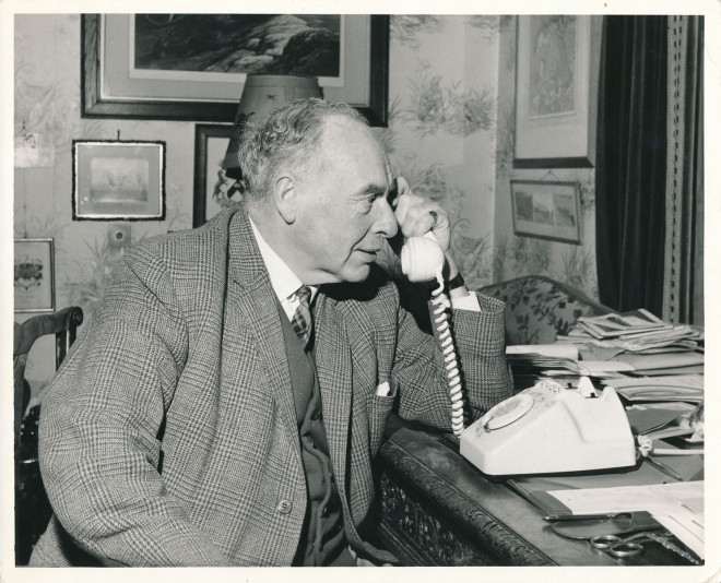 JK Balfour receives first phone call from the new automated telephone exchange in Kirkmichael, May 1970.