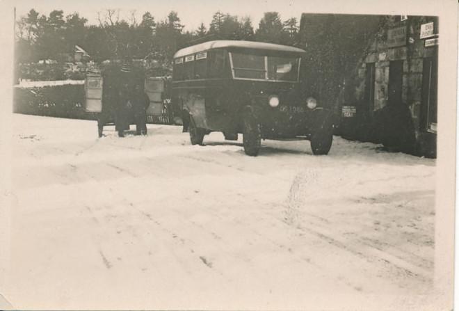 The post bus stops outside Enochdhu Post Office