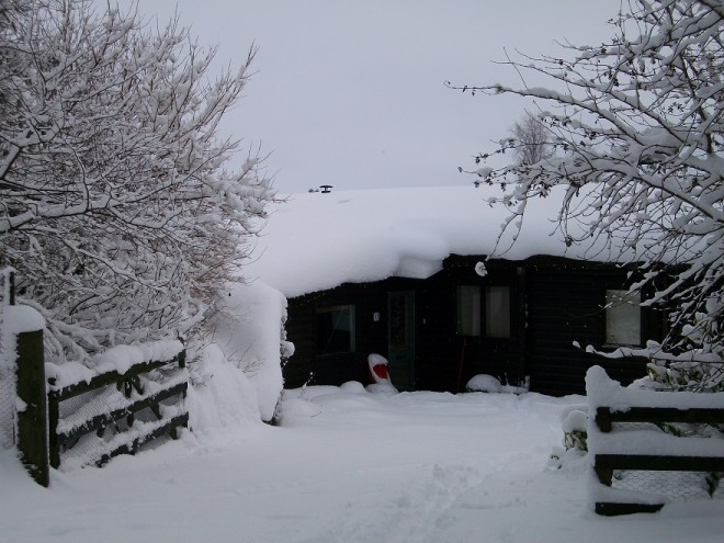 A log cabin in the snow 2011