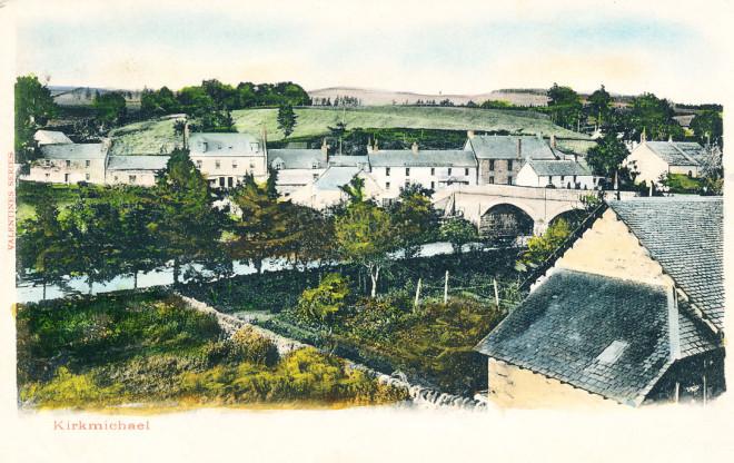 A coloured postcard of Kirkmichael village