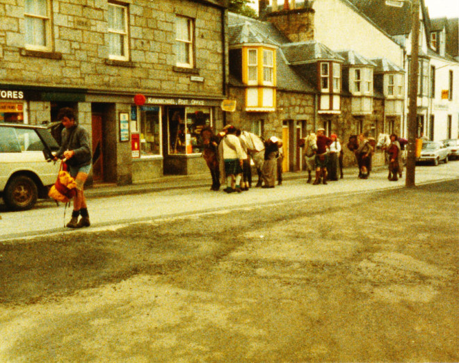 1983. The whisky challenge travels through Kirkmichael on the main street