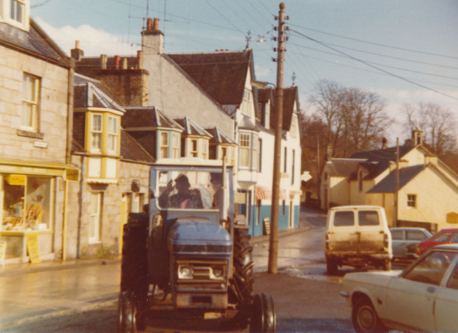 Tractor outside Kirkmichael garage