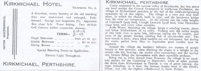 Kirkmichael Hotel brochure