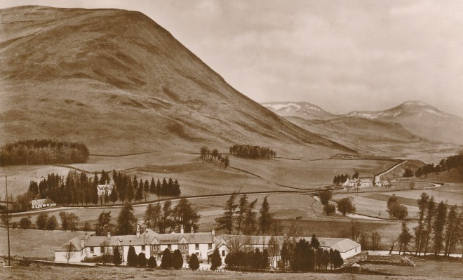 The Spittal of Glenshee Hotel before the new bridge was built and the main road went past the church
