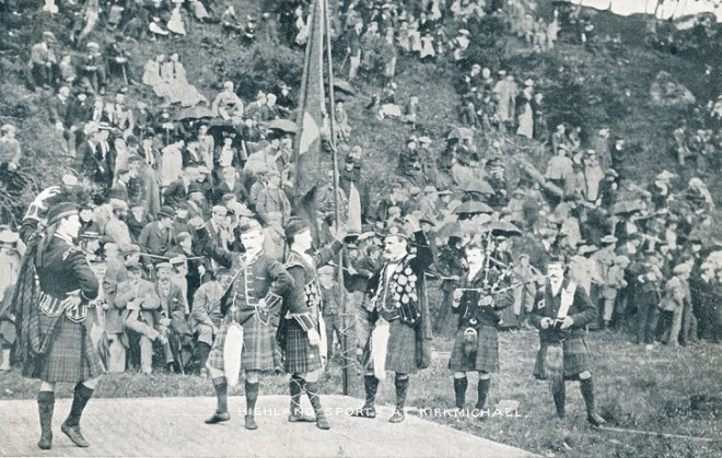 Strathardle Gathering 1905 when it was held at the Kirkmichael Crossroads. The 1905 Games were in fact held in the field next to Cruachan on the road to Pitlochry. My parents had a photo of the parade marching out of the village but unfortunately my mother gave it to Douglas Davidson (chemist in Blair) sometime in the 60's. The Davidison family may still have it.