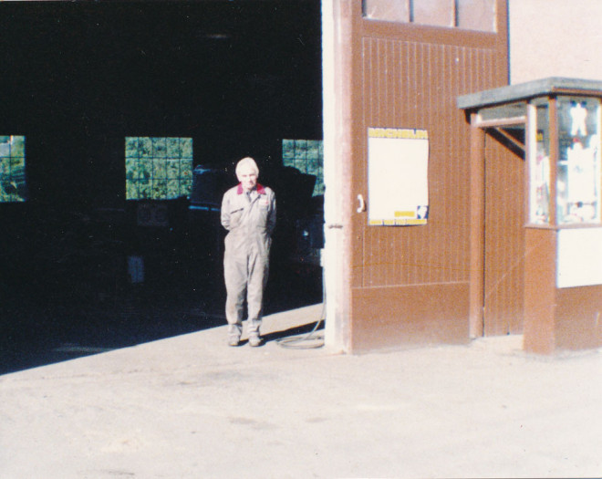 Jock Blair outside the garage, which he owned