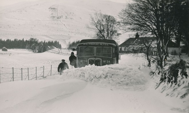 Ploughing deep snow outside Gulabin Lodge