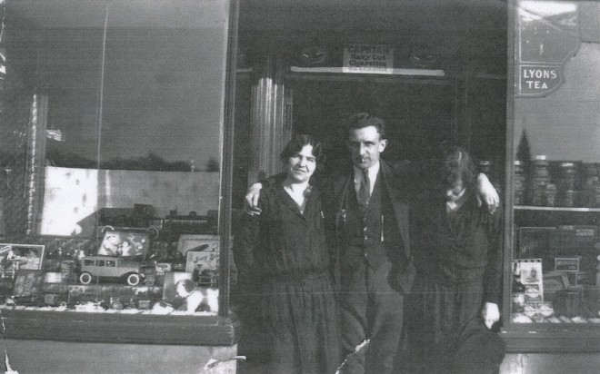 Flora McMillan, Jock Milne and Lilly McMillan outside Kirkmichael  shop c 1930