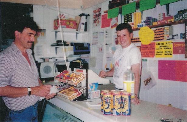 John Milne hands over Kirkmichael shop to Graham Dick July 1995.