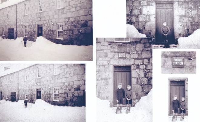 Pictures of the Police Station, Main Street, 1947 Kirkmichael Police Station, c. 1947.  Identities of children Roy Gordon who lived next door & Alistair Ferguson the policeman's son