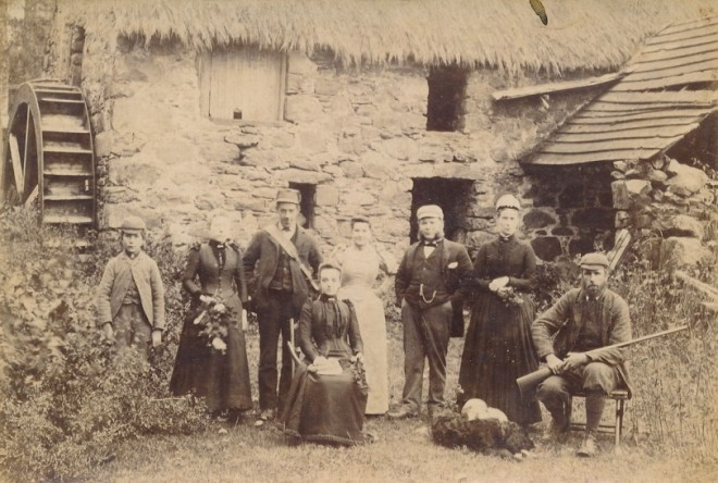 Family gathering outside what we believe to be Balnald mill,