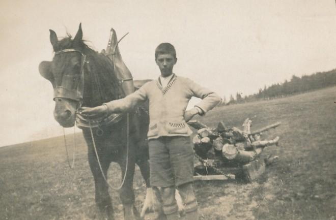 Bringing in the wood. James (Jim) McDonald (Slochnacraig)