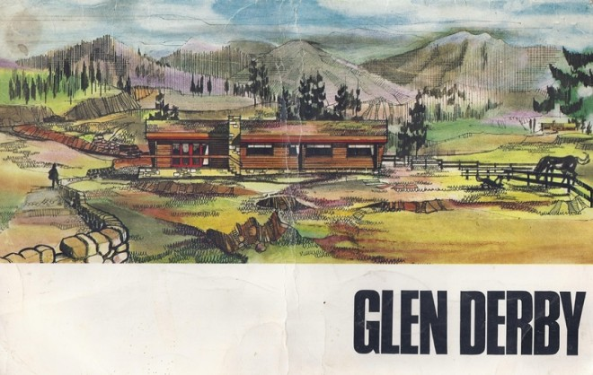 The outside of the original brochure for the log cabins