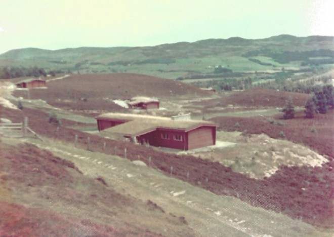 Newly built log cabin 1973.