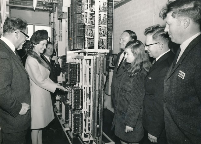 The formal opening of the telephone exchange Kirkmichael