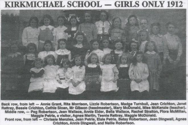 Kirkmichael School girl pupils 1912
