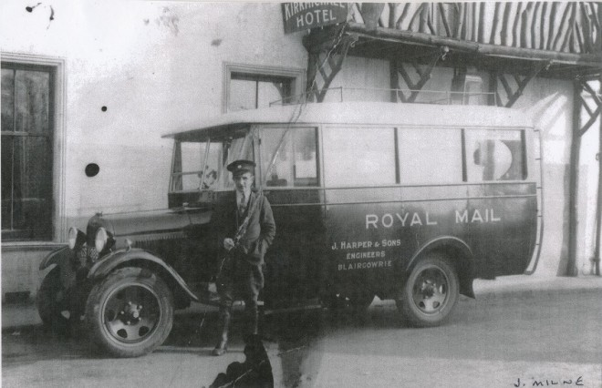Jock Milne with the Strathardle Mailbus c1930
