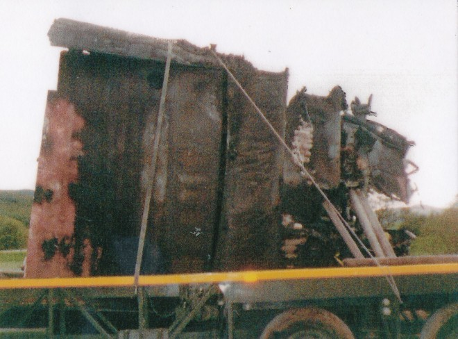 Wreckage from the crash being taken away