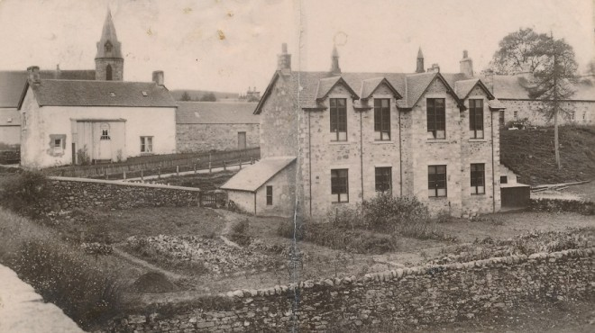 Kirkmichael School with its vegetable patches as gardening was taught as a school subject. The building is now two storeys high - when did this happen? 1925