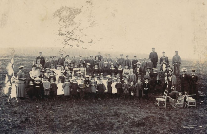 A group of people celebrate Queen Victoria's Golden Jubilee in Strathardle 1887