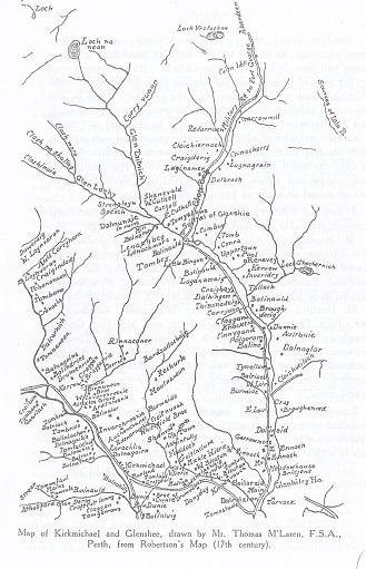 Map of Kirkmichael & Glenshee 17 century
