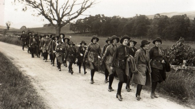 Girl Guides marching from their camp at Middleton C1930 (?)