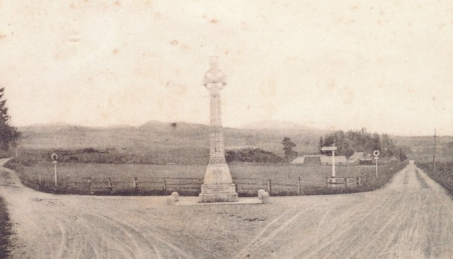 James Small of Dirnanean Monument at road junction . It has now been moved to the side of the junction  after damage.