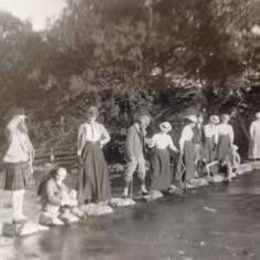 The Constable Family on the stepping stones on the river Ardle