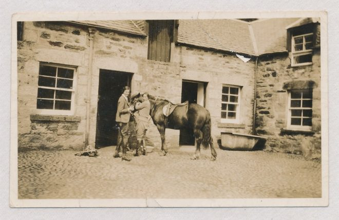 Joyce Dolby & Katherine Balfour at the stables Dirnanean