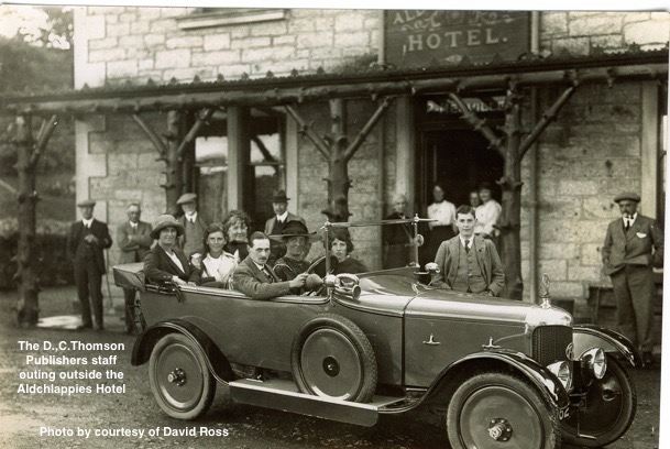 D.C.Thomson Staff Outing taking a break outside The Aldchlappies Hotel Kirkmichael