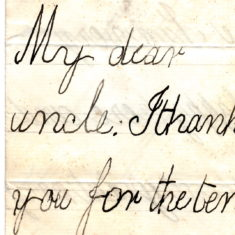 Christmas Thank You Letter from his nephew Willy Balfour 1st January 1878 page 1. 10 shillings in 1878 was worth £193.84 in the year 2000.